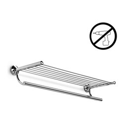 "WS Bath Collections - Noanta Towel Rack With Hanging Towel Rail - Noanta by WS Bath Collections Bathroom Shelf with Towel Rack 25.8"" in Polished Chrome, Solid Brass Base, Self-Adhesive Wall Installation, No Screws Required, Made in Italy"