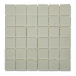 """GlassTileStore - Loft Ice White Frosted 2x2 Tumbled Edge Glass Tiles - Loft Ice White Frosted 2 x 2 Glass Tile             White tiles keeps the room looking bright, clean and contemporary. The mesh backing not only simplifies installation, it also allows the tiles to be separated which adds to their design flexibility.           Chip Size: 2x2   Color: White with a hint of gray   Material: Tumbled Edge Glass   Finish: Frosted   Sold by the Sheet - each sheet measures 12"""" x 12"""" (1 sq. ft.)   Thickness: 6mm            - Glass Tile -"""