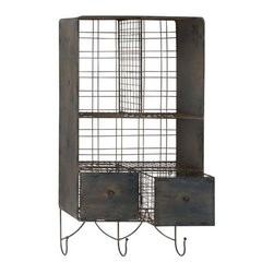 Hooked On Style Wall Shelf - Need a stylish place to store your towels? How about your desk supplies? This metal wall shelf is a two-for-one piece of furniture. Store items in its cubbies and drape jackets and more on the hooks.