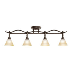 KICHLER - KICHLER Pomeroy Transitional Semi Flush / Wall Sconce X-KBD4477 - A blend of traditional and classic influencing, this Kichler Lighting semi flush mount ceiling light can also double as a wall sconce. From the Pomery Collection, the elegant lines feature a dark Distressed Black finish that compliments the tones of the sunrise marble glass shades.