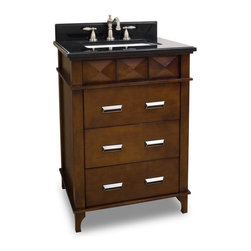 """Hardware Resources - 26"""" Vanity  VAN082-T - This 26"""" vanity has a rich chocolate brown finish with faceted carvings and clean lines make this masculine vanity a perfect addition to transitional or modern decor. Three fully working drawers, fitted around the plumbing gives this vanity ample storage.  This vanity has a 2.5CM black granite top preassembled with an 16-5/16"""" x 11-7/16"""" rectangle bowl, cut for 8"""" faucet spread, and corresponding 2CM x 4"""" tall backsplash.  Overall Measurements: 26"""" x 22"""" x 36"""" (measurements taken from the widest point) Finish: Chocolate Material: Wood Style: Traditional Coordinating Mirror(s): MIR082 Bowl: H8910WH"""