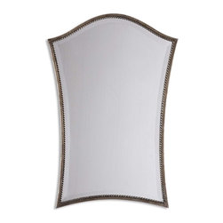 """Grace Feyock - Grace Feyock Sergio Transitional Vanity Rectangular Mirror X-B 58531 - A Narrow, Lightly Antiqued, Silver Leaf Frame With Burnished Details Accents This Shapely Beveled Mirror. Mirror Features A Generous 1 1/4"""" Bevel."""
