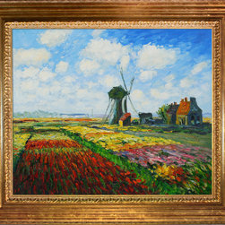 "overstockArt.com - Monet - Tulip Field with the Rijnsburg Windmill - 20"" X 24"" Oil Painting On Canvas Hand painted oil reproduction of a famous Monet painting, Tulip Field with the Rijnsburg Windmill. The original masterpiece was created in 1886. Today it has been carefully recreated detail-by-detail, color-by-color to near perfection. While Monet successfully captured life's reality in many of his works, his aim was to analyze the ever-changing nature of color and light. Known as the classic Impressionist, one can not help but have deep admiration for his talent. This work of art has the same emotions and beauty as the original. Why not grace your home with this reproduced masterpiece? It is sure to bring many admirers!"