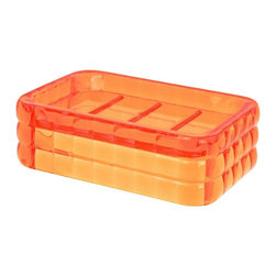 Gedy - Decorative Orange Soap Holder - Stylish countertop or vanity soap holder made of thermoplastic resins with an orange finish. Soap holder made of thermoplastic resins. Design with an orange finish. From Gedy Glady Collection.