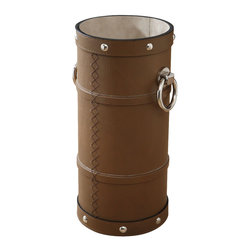 Ring Umbrella Stand - Mink - Soft brown leather with over scale topstitching and equestrian details adds warmth, invitation, and elite history to your entryway. Perfect for bringing a touch of the country manor to the city house, the Ring Umbrella Stand in Mink is banded with straps and studded with wide nickel rivets, adding detail to the texture and interest to the look of a convenient touch to your traditional home.