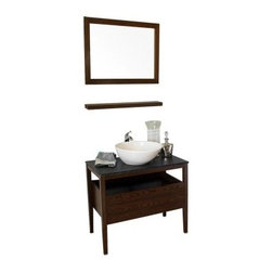 Bellaterra Home Bosque 35.5-in. Single Bathroom Vanity with Optional Mirror - The unique design of the Bellaterra Home Bosque 35.5-in. Single Bathroom Vanity with Optional Mirror gives a beautiful appearance while maintaining a warm modern atmosphere for your bathroom. The vanity features a unique oblong vitreous china sink, topped with a textured black burnt stone. Liven up any bathroom with natural color and texture. Just as in all the modern models, the vanity is constructed from solid wood and comes assembled with genuine Blum™ soft closing drawer glide. Completed with a gorgeous walnut finish.By combining novel manufacturing processes with traditional craftsmanship and rigorous inspections, Bellaterra retains an unblemished reputation for fine quality and customer service. For over 15 years, the owners of Bellaterra have seen themselves that production is meticulously managed, from choosing materials to the impeccable construction. All wood finishes prevent humidity and water damage, ensuring all Bellaterra products remain un-warped, unstained, and gorgeous for a lifetime.