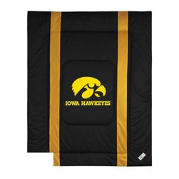 Sports Coverage - Iowa Hawkeyes Bedding - NCAA Sidelines Comforter - Full - Show your team spirit with this great looking officially licensed Iowa Hawkeyes comforter which comes in new design with sidelines. This comforter is made from 100% Polyester Jersey Mesh - just like what the players wear. The fill is 100% Polyester batting for warmth and comfort. Featuring authentic Iowa Hawkeyes team colors, each comforter has the authentic Iowa Hawkeyes logo screen printed in the center. Soft but durable. Machine washable in cold water. Tumble dry in low heat. Covers are 100% Polyester Jersey top side and Poly/Cotton bottom side. Each comforter has the team logo centered on solid background in team colors. 5.5 oz. Bonded polyester batts. Looks and feels like a real jersey!