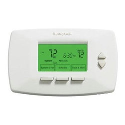 Honeywell Home - Programmable Thermostat 7 Day - Honeywell 7-Day Programmable Thermostat with 4 periods per day.  Works with virtually all system types.  Large backlit display.  Smart Response Technology learns the amount of time a system needs to reach a desired temp & adjusts accordingly.  Auto change from heat to cool.  Includes change reminders for filters and batteries.  Program is retained in memory in the event of a power outage.  12 or 24 hr time display.  Soft-touch button inteface. 1 3.0V Lithium Metal Included.  2 AA Not Included