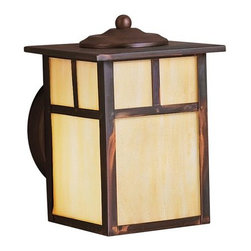 KICHLER - KICHLER Alameda Arts and Crafts/Mission Outdoor Wall Sconce X-VC9469 - Clean lines compliment the mission styling of this Kichler Lighting outdoor wall sconce. From the Alameda Collection, it blends a unique Canyon View finish with a beautiful and elegant honey opalescent glass shade that pulls the look together. U.L. listed for wet locations.