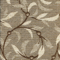 TEA LEAVES - OOLONG - Calvin Fabrics - TEA LEAVES - OOLONG - whimsical graphic botanical in taupe with grey & espresso accents woven in the USA - contract ratings WYZENBEEK: 30,000 & UFAC CLASS I