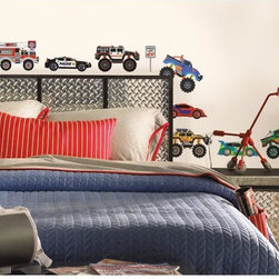 Roommates Decor - New Speed Limit Trucks Peel & Stick Wall Decals - Create your own garage with these fun transportation wall decals. Complete with your own fire truck and police cars, you can rest easy as your fleet is protected. Simply apply the stickers to any smooth, flat surface and play! Every decal is removable, repositionable, and reusable, allowing for many years of play and easy-to-change decor.
