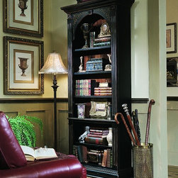 Hooker Furniture - Hooker Furniture Black Bookcase 500-50-385 - Crafted from hardwood solids and veneers. This hand painted black finish with gold accents table features four adjustable shelves and one stationary shelf.