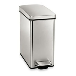 Simple Human - simplehuman 10-Liter Profile Step Trash Can - Bring modern style and convenience to your home with this stylish trash can from simplehuman. This trash can features a chic brushed stainless steel body in a slim profile that's perfect for the bathroom or under a desk.