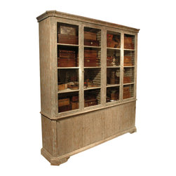 Kathy Kuo Home - Chamberet French Country Distressed Gray Wash Large Bookcase Cabinet - This hardworking piece has plenty of shelf life. The perfect addition to French country and Gustavian-inspired spaces, it's fitted with adjustable top and bottom shelves that allow you to customize the height to accommodate objects of varying heights.