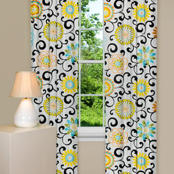 Floral Curtains and Drapes - Let our modern curtains beautifully decorate your view. The Pom Pom Play - Confetti window panel has black scrolls and beautiful bursts of orange, yellow, blue, and green against a white background. 100% Cotton.