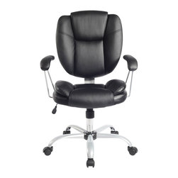 Techni Mobili - Techni Mobili 0930 Ergonomic Task Chair in Black - Techni Mobili - Office Chairs - RTA0930BK - Increase your comfort level with Techni Mobili's ergonomic office chair! Featuring double pillow soft cushion back support and padded armrests this chair is sure to meet your comfort needs. Pneumatic height adjustment makes this chair easily customizable to your personal preferences while nylon wheels and a heavy duty steel base make this chair both durable and stable. A stylish and modern design add the finishing touches to this piecemaking this a great addition to any home or office.
