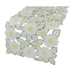 Xia Home Fashions - Dainty Flowers 15-Inch By 54-InchTable Runner - Embroidered florals adorn this delicately beautiful cutwork sheer linens collection. Lovely as an everyday accent and great for tea time!
