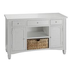 Stein World - Stein World Nantucket Sofa Table - An everyday collection distinguished by fresh cottage white tables with louvered doors natural sea grass baskets plank style tops and beveled glass tops.