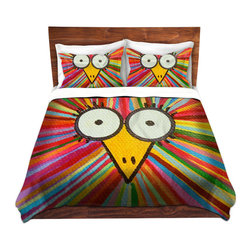 DiaNoche Designs - Duvet Cover Microfiber - Full Frontal Woo - DiaNoche Designs works with artists from around the world to bring unique, artistic products to decorate all aspects of your home.  Super lightweight and extremely soft Premium Microfiber Duvet Cover (only) in sizes Twin, Queen, King.  Shams NOT included.  This duvet is designed to wash upon arrival for maximum softness.   Each duvet starts by looming the fabric and cutting to the size ordered.  The Image is printed and your Duvet Cover is meticulously sewn together with ties in each corner and a hidden zip closure.  All in the USA!!  Poly microfiber top and underside.  Dye Sublimation printing permanently adheres the ink to the material for long life and durability.  Machine Washable cold with light detergent and dry on low.  Product may vary slightly from image.  Shams not included.