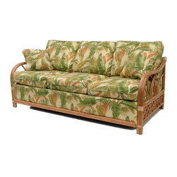 Wicker Paradise - Rattan Sleeper Sofa   Naples Collection - The Naples rattan sleeper sofa has a great tropical look that your guests can sit on or sleep in.   Rattan Sleeper Sofa:  -You can select from 6 different finishes on your rattan!  -Quality innerspring mattress  -This rattan sleeper sofa is of the highest quality and made in the USA!  -Sleeper sofa is 90 inches long when open.  -With 70 fabrics to choose from you can choose the look you love.   Rattan finish choices