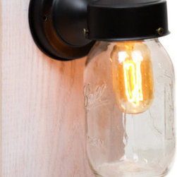 Junkyard Lighting - Classic Black Edison Wall Sconce Light with Mason Jar Shade - A unique wall sconce, features a matte black wall mount and a mason jar shade.