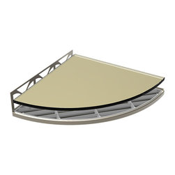 TileWare - TileWare Structural Surfaces Claddy T-Shelf w/ Glass Cover, Wheat - Structural Surfaces™ Claddy T-Shelf With Glass Cover - Brushed Nickel