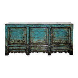 Shanxi Blue Sideboard - Three-door brilliant blue lacquer sideboard with hand-carved bottom skirt. New interior shelves and hardware. Shanxi, China circa 1890s.