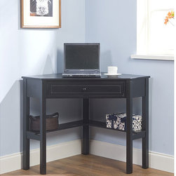 None - Black Wood Corner Computer Desk with Drawer - Maximize your space with this black-finished corner computer desk. This computer desk includes a drawer and lower shelves for books and knick-knacks, making it functional. The black finish makes this desk a stylish addition to any space.