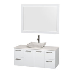 """Wyndham Collection - Amare 48"""" Vanity, White Stone, Avalon White Carrara Sink, 46"""" - Modern clean lines and a truly elegant design aesthetic meet affordability in the Wyndham Collection Amare Vanity. Available with green glass, acrylic resin or pure white man-made stone counters, and featuring soft close door hinges and drawer glides, you'll never hear a noisy door again! Meticulously finished with brushed chrome hardware, the attention to detail on this elegant contemporary vanity is unrivalled."""