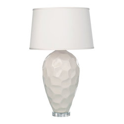 Loving Lighting - Honeycomb Porcelain Lamp with Ivory Silk Shade - Features: