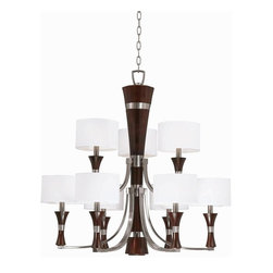 Triarch International - The Brady Collection Chandelier in Brushed Steel Finish - The Brady Collection Double Tier Chandelier in a Brushed Steel finish with White Drum Shades. 9-60 Watt Candle Base Bulbs not included. UL Approved. 31 in. W x 31 in. H (32 lbs)