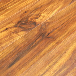 Hallmark - Asian Walnut Acacia Hand Scraped Laminate Click Lock Flooring- Box, Natural - Coverage: 16.48 sqft/Box