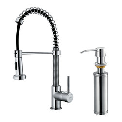Vigo - VIGO Chrome Pullout Spray Single-Handle Kitchen Faucet with Soap Dispenser - Faucet type: Kitchen Number of handles: Single-handle Faucet finish: Chrome