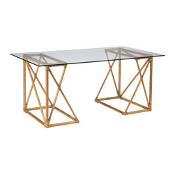 Selamat - Riva Nutmeg Trestle Desk - The modern Riva impresses with an open-air geometric frame and sleek onset tabletop. This angular, nutmeg brown trestle furnishing arranges in two positions for a unique desk or small table. Sustainably-grown rattan with leather bindings; Hand-stained finish; Tempered glass