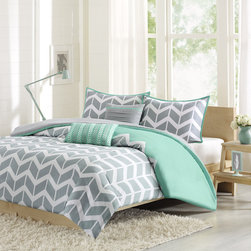 ID-Intelligent Designs - Intelligent Design Laila Duvet Cover Set - Laila makes any bedroom fun and inviting. The duvet cover features a fresh solid teal color with a gray and white chevron print that runs along the bottom broken up by white vertical stripes.