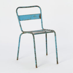 Vintage Cerulean Side Chair - This midcentury chair comes in the classic French blue you see on shutters and doors across the country. They would be fun around a shabby chic, white table or outside on the patio.