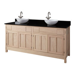 """72"""" Unfinished Mission Hardwood Vessel Sink Vanity - 4 Top Drawers - The 72"""" Unfinished Mission Hardwood Vanity Cabinet features four top drawers and four doors. Made in Kentucky from American hardwoods and using traditional woodworking techniques, this vanity cabinet is built to last."""