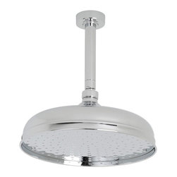"""Hudson Reed - Bathroom 12"""" Apron Rainfall Shower Head Chrome Round Overhead & 6"""" Ceiling Arm - Provide the finishing touches to your traditional bathroom with this elegant 12"""" apron shower head and ceiling mounted arm from Hudson Reed. Delivering a refreshing rainfall style effect, this shower head features a chrome finish."""