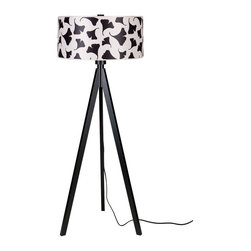 Lights Up! - Woody Floor Lamp, Black Gingko Leaf - With this floor lamp, you're in a great position to survey the design landscape. The tripod base is made from sustainably harvested wood and comes in your choice of black or pickled finishes. It holds one bulb and a dramatic drum shade available in several eye-popping colors, patterns and materials.