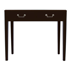 Madison Vanity Table - Vanity table with ogee edge top, two drawers, and satin nickel hardware.