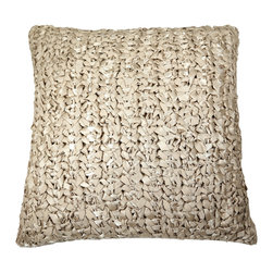 Ann Gish - Ribbon Knit Pillow - Ribbon knit pillow is hand-knitted from chic ribbon. Backed with coordinating cotton sateen, zip closure. Includes 95/5 feather and down insert. Machine washable