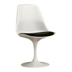 Baxton Studio - Baxton Studio White Plastic Side Chair - Accent your home decor with this modern chair. This White chair is crafted of ABS plastic that resists fading from UV rays. Chairs are suitable for indoor use. This sleek chair also features black PVC cushion.