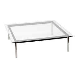 "Fine Mod Imports - Cube Clear Glass Top Coffee Table, 27""l X 27""w X 16""h - Features:"