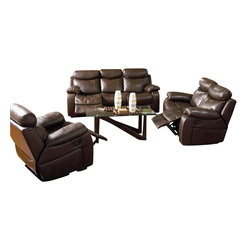 Coaster - Coaster Denisa 3 Piece Reclining Sofa Set in Rich Brown Bonded Leather - Coaster - Sofa Sets - 60056162633PKG