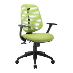 Modway - Modway EEI-1174 Reverb Office Chair in Green - Reverb is a flexible and responsive chair built for years of ergonomic comfort. Designed to offer support over both your lower and upper back regions, the adaptable mesh back and waterfall seat design help keep you alert, while effectively distributing the weight of your body. The pneumatic lever and tension control knob fine-tune the chair's height and tilt to personalize Reverb, while the armrests keep your upper-body is well-positioned. Although mesh designs have increased in popularity in recent years, Reverb offers a choice that is both stylish and works admirably well to protect your body from daily stresses. The nylon base comes equipped with five dual-wheeled hooded casters for easy gliding over carpeted surfaces, and the molded foam seat pan comes generously padded for extra comfort.