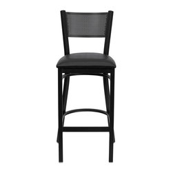 "Flash Furniture - HERCULES Series Black Grid Back Metal Restaurant Bar Stool - Black Vinyl Seat - This heavy duty commercial metal bar stool is ideal for Restaurants, Hotels, Bars, Pool Halls, Lounges, and in the Home. The lightweight design of the stool makes it easy to move around. The tubular foot rest not only supports your feet, but acts as an additional reinforcement that helps secure the legs. This stool will keep you comfortable with the easy to clean vinyl upholstered seat. You will not regret the purchase of this bar stool that is sure to complement any environment to fill the void in your decor.; Heavy Duty Restaurant Bar Stool; Grid Back Design; Black Vinyl Upholstered Seat; 2.5"" Thick 1.4 Density Foam Padded Seat; 18 Gauge Steel Frame; Welded Joint Assembly; Two Curved Support Bars; Foot Rest Rung; Black Powder Coated Frame Finish; Plastic Floor Glides; Designed for Commercial Use; Suitable for Home Use; Assembly Required: Yes; Country of Origin: China; Warranty: 2 Years; Weight: 14 lbs.; Dimensions: 42.25""H x 19""W x 19.5""D"