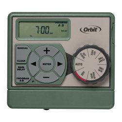 Orbit - Orbit Sprinkler Timer - 6 Zone Station indoor Water Irrigation Controller 57856 - This is an Orbit Easy Dial timer with 6 stations. The Easy Dial which makes programming this timer a sinch and head-ache free. With a push of a button, you can delay watering if it rains or water manually. This timer features a large LCD screen which makes it easy to read and understand. This Orbit Easy Dial Timer is compatable with different types of systems such as manual sprinklers, automatic sprinkling systems, patio misting systems and much more.Features and Benefits