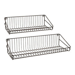 "Imax - Industrial Wire  Wall Shelf - Set Of 2 - *Dimensions: 9.5-10.75""h x 5.75-6.5""w x 2-28"""