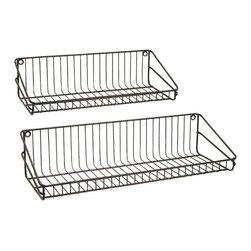 "Imax - Industrial Wire  Wall Shelf - Set Of 2 - *Dimensions: 9.5-10.75""h x 5.75-6.5""w x 2-28"""