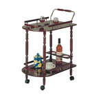 Coaster - Coaster 3512 Serving Cart with Brass Accents in Cherry Finish - Coaster - Bar Carts - 3512 - This serving cart will add sophistication and charm to your home. It features cherry finish with brass accents and four wheels. It has one shelf at the bottom to keep your plates, cups and more. It has one long shelf at the top for serving the drinks and snacks and also a convenient wine rack at the bottom to hold up to 3 bottles.